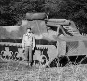 Ghost Army soldier with an inflatable tank