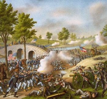 Painting of the battle at Antietam