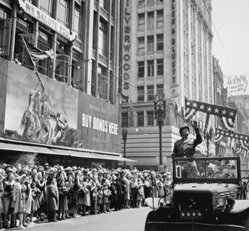 Patton at a welcome home parade after WWII
