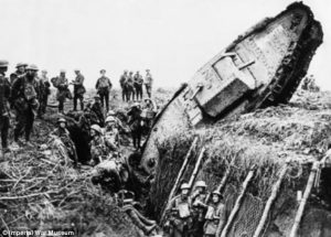 WWI Tank stranded in a trench.