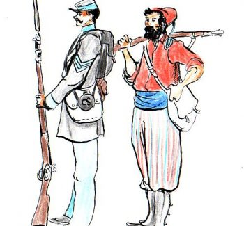"""Illustration of a Louisiana infantry sergeant and private in Zouave uniform, """"Zouave des Louisiana Tigers."""""""