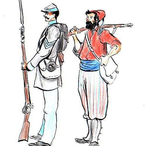 "Illustration of a Louisiana infantry sergeant and private in Zouave uniform, ""Zouave des Louisiana Tigers."""