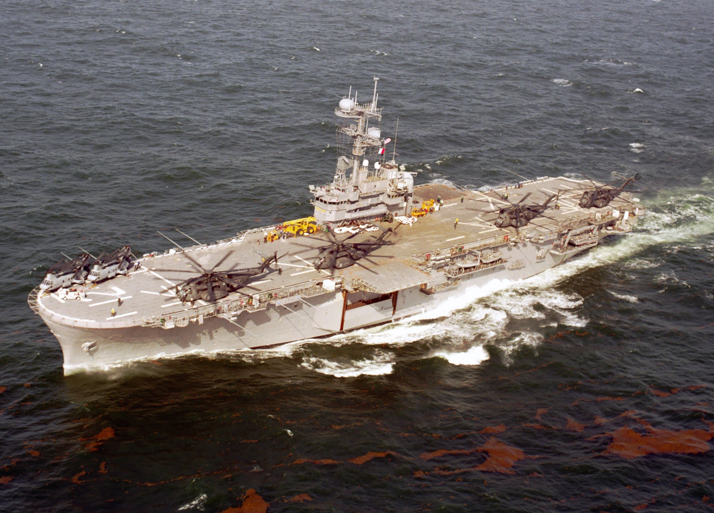 USS Inchon, an amphibious assault ship of the Iwo Jima class.