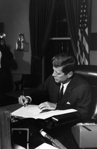 President Kennedy signs Cuba quarantine proclamation