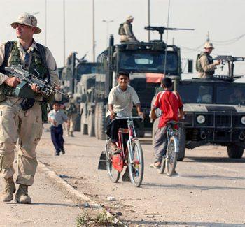 A marine patrolling in Iraq