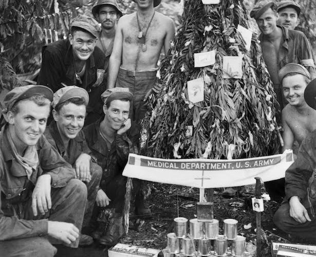 Soldiers during WWII at Christmas